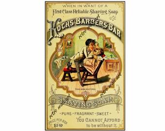 "Old Time Barber Shop Poster, Home Decor Print, 6"" x 10"", Barber Shop Wall Art Print, Shaving Soap, 1888 Koch Barber Bar Catalog Poster"
