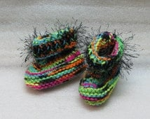 FREE SHIPPING Hand Knit Baby Booties - Boots - Moccasins -  Neon Blacklight with Black Fun Fur Eyelash Trim