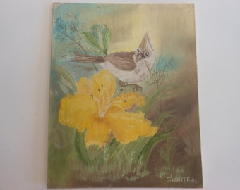 Vintage original oil painting bird with a yellow flower unframed 8 by 10 inches J. White 1986