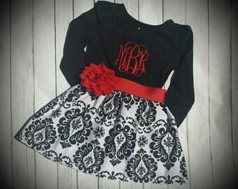 Damask baby dress, Christmas dress, Black and white damask dress, baby's first christmas