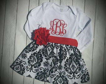 Damask baby dress, Christmas dress, holiday dress, baby's first christmas, black white and red dress