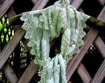 Green vintage lace scarf, long green lace scarf, upcycled vintage lace scarf, green cotton lace scarf, shabby cottage chic scarf