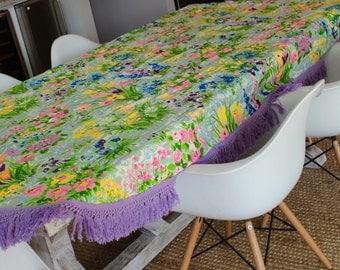 Purple Floral Tablecloth, Vintage Tablecloth, oval tablecloth, cottage decor, fringe trim, retro flower table cover, garden theme,