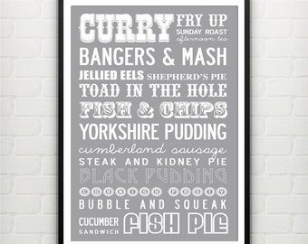 Best of British traditional dishes. Food print. Large A2: 42x59.4 cm, luxury poster print.