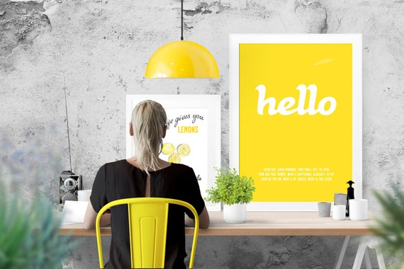 Hello, stylish typographic poster. Size A3: 29.7 x 42 cm, 16.5 x 11.7 in