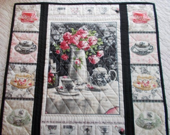 Teacups And Flowers Quilted Wall Hanging/Quilted Table Runner