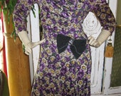 1930's Purple and Yellow Floral Dress womens size small