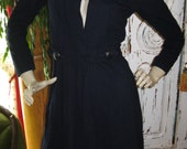 Vintage 1940's Navy Blue wool Fall Coat womens size small