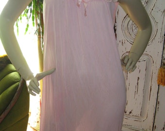 Vintage 60's Pink Night gown womens size large
