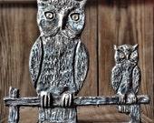 Antique Owl Cast Iron Halloween Decor Gate Topper