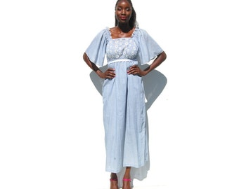 Blue and white striped eyelet peasant maxi dress 1970s 70s VINTAGE