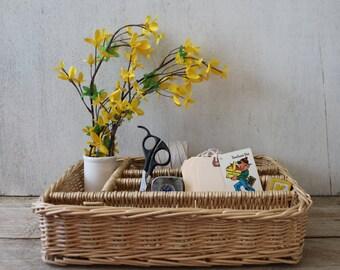 Vintage Wicker Organizer Basket // Cutlery Organizer