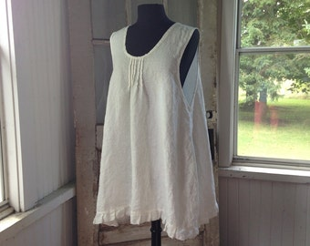 Washed White Linen Pintucked Ruffled Sleeveless Dress Slip Dress  Sweet Prairie Lagenlook Ready To Ship  One Size