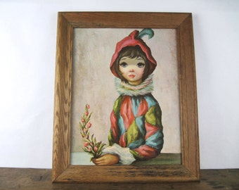 Mardi Gras Girl, 1960s Big Eye Harlequin portrait - iconic 60s art, JEAN MAIO, framed print, litho, lithograph - big eyes, sad eyes
