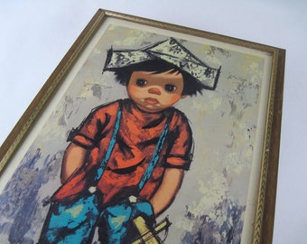 the make believe pirate, vintage 1960s Big Eye Boy by Brett - framed print, mcm art