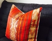 Orange Tribal Pillow Cover - 20x20 Pillow Covers - Orange And Gold Cushion - Shabby Chic, Throw Pillow, Accent Pillow