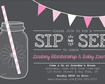 Chalkboard Sip & See Invitation