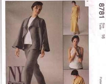 McCall's 8781, NY NY Collection, Misses Unlined Jacket, Bias Skirt, Pants, Bias Top, Size 16, Uncut, Factory Folded
