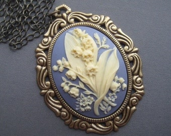Cameo Necklace  - Lily of the Valley Necklace - Lily of the Valley Jewelry - Flower Cameo Pendant - Victorian Jewelry - Romantic Jewelry