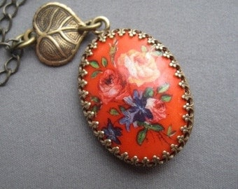 Flower Necklace - Burnt Orange Necklace - Vintage Cameo Necklace - Botanical Jewelry - Fall Jewelry - Garden Jewelry - Rose Necklace