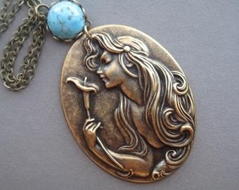 Art Nouveau Necklace - Art Nouveau Jewelry - Calla Lily Jewelry - Goddess Necklace - Goddess Jewelry - Vintage Style Jewelry - Nouveau Style