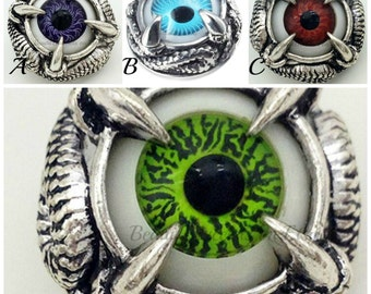 Dragon Eye snap charm for your Ginger snaps jewelry. Evil Eye snap charm, Halloween snap button will fit 18-20 mm snap jewelry.