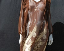 Vintage 30's sheer hand made dress floral deco print Sz L flapper DECO by thekaliman