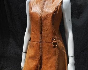 Vintage 70's Leather Zip Front Cognac Colored Vintage mod space age Dress Creations Jeanne Bernard CJB made in France sz M by thekaliman