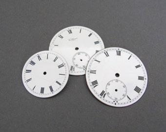 Vintage Enamel Watch Faces - Set of 3 - Clock Parts - Enamel Clock Dial