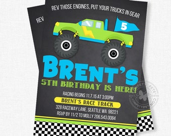 Monster Truck Birthday Invitations, Chalkboard Invitation, Monster Truck Party Invite, Boy Birthday Invitation, Monster Jam