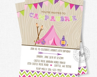 Glamping Birthday Invitation, Glam Camping Party, Campfire Invitation, Into the Woods, Smores Invitation, Pink Tent