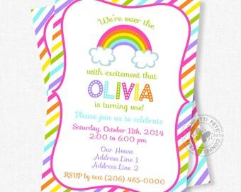 Rainbow Birthday Invitation, Over the Rainbow Invitation, Rainbow Party Invite, Colorful Invitation, Bright