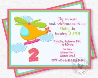 Helicopter Birthday Invitation, Helicopter Party Invites, Girl Birthday Invitation, Second Birthday Invitation