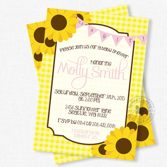 sunflower baby shower invitation, girl baby shower invitation, Baby shower invitations