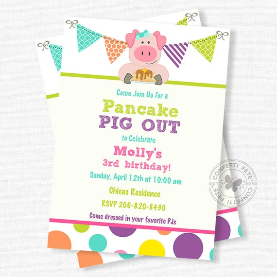 Pancakes and Pajamas Invitation Pancake Party Pajama Party – Pancake Party Invitations