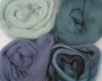 """Merino Wool for Wet Felting or Spinning   2oz. Pack of Assorted Colors """"Sea Ice"""""""