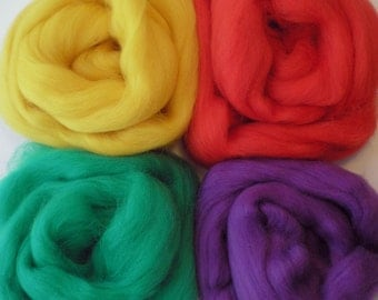 """Merino Wool for Wet Felting or Spinning   2oz. Pack of Assorted Colors """"Crayon Box"""""""