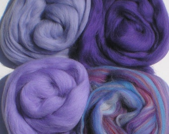 """Merino Wool for Wet Felting or Spinning   2oz. Pack of Assorted Colors """"Passsionflower"""""""