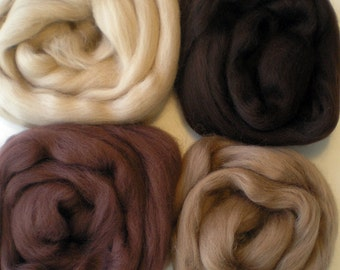"""Merino Wool for Wet Felting or Spinning   2oz. Pack of Assorted Colors  """"Chocolate Box"""""""