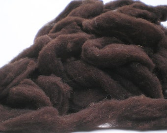 New Hampshire Grown Brownish Black Lambs Wool Roving   4 oz.