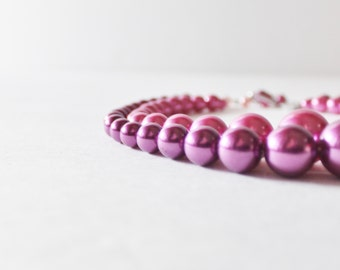 Vintage 60s Pink Purple Two Strand Necklace - costume jewelry, prom, wedding