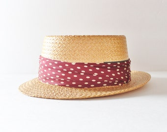 Vintage 40s Hard Straw Boater Hat with Maroon Dot Ribbon - made by Pilgrim
