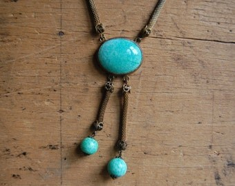 Art Deco 1920s Peking Glass negligé necklace ∙ Czech woven mesh necklace