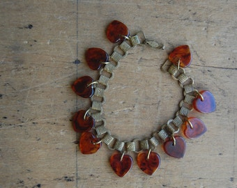 Vintage 1930s brass and faux tortoise heart bracelet ∙ 1930s brass bracelet
