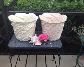 "PALM FROND PLANTERS 15"" Wide Hollywood Regency Palm Beach Planter / 2 Available / 13 Inches Tall Large / Cottage Style At Retro Daisy Girl"