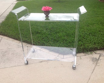 LUCITE BAR CART / Waterfall Lucite / Lucite Cart / Hollywood Regency Style On Sale at Retro Daisy Girl