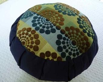 Meditation sitting cushion. Very fun Circle pattern on Navy Blue.