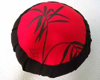 Meditation sitting cushion.  Red and Black. This hand painted design of Bamboo has a  meaning of tranquility and long life.