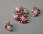Vintage Rose Rhinestone Brooch & Earring Set