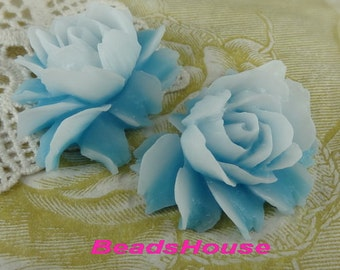 34-00-CA  2pcs Pretty Cabbage Rose Cabochon - Baby Blue.